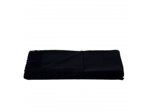 Lambswool blanket  with fringe - BLACK