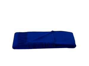 Lambswool blanket  with fringe - BLUE