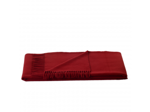 Lambswool blanket  with fringe - RED