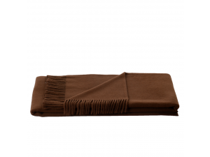 Lambswool blanket  with fringe - BROWN