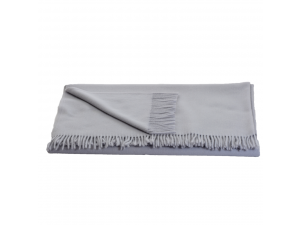Lambswool blanket  with fringe - GREY