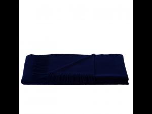 Lambswool blanket  with fringe - MARINE BLUE