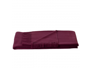 Lambswool blanket  with fringe - PURPLE