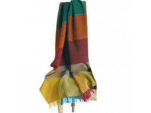 Sheep wool blanket with fringe - MULTICOLOR