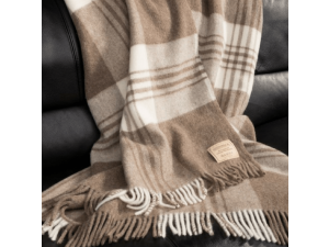 Mongolian Lambswool blanket  with fringe - CHECKERED NATURAL