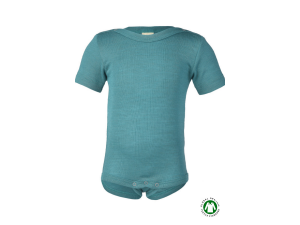 DISCOUNT / BIO Merino-Silk Baby Body, short sleeves, TURQUOISE - size 98/104
