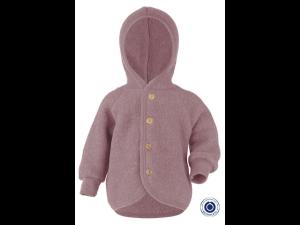 BIO Merino Fleece Children`s Jacket, with Hood, wooden buttons, PINK - 50/56 to 86/92