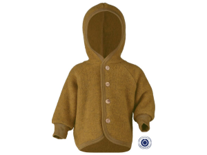 BIO Merino Fleece Children`s Jacket, with Hood, wooden buttons, YELLOW - 50/56 to 86/92