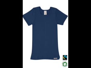 BIO Cotton children`s shirt, short sleeves, DARK BLUE - 104 to 164