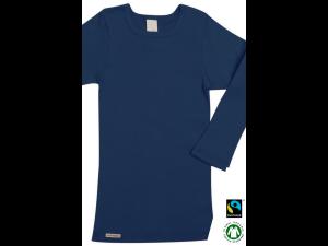 BIO Cotton children`s shirt, long sleeves, DARK BLUE - 104 to 164