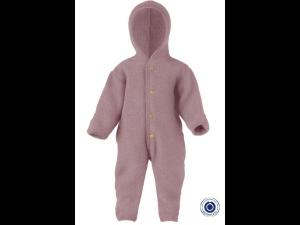 BIO Merino Fleece Children`s Overall with Hood, wooden buttons, PINK - 50/56 to 86/92