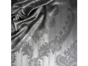 Silk Jacquard Fabric, thicker silk, SILVER, BLACK, width 280 cm