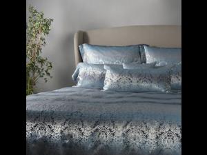 OCEAN BLUE Silk Flat sheet - Heavy Jacquard silk / 31 momme (mm)