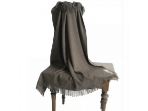 Mongolian Lambswool blanket  with fringe -  NATURAL