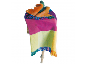 Sheep wool blanket with fringe - RAINBOW