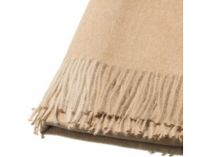 Baba Alpaca blanket with fringe - BEIGE