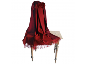 Doubleface lambswool blanket with fringe - RED