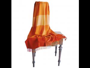 Lambswool blanket with fringe - ORANGE