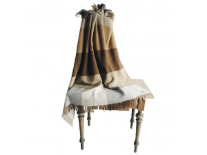 Sheep wool blanket with fringe - BROWN