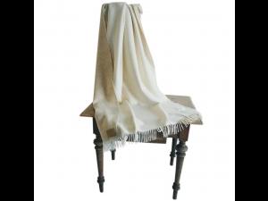 Doubleface lambswool blanket with fringe - BEIGE