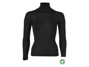 BIO Merino Silk Women's Polo neck, long sleeves, BLACK