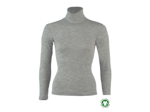 BIO Merino Silk Women's Polo neck, long sleeves, GREY