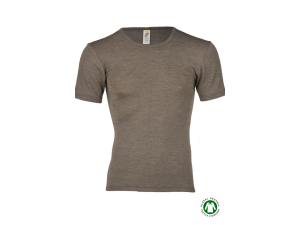BIO Merino-Silk  Men's Short Sleeves vest, WALNUT BROWN