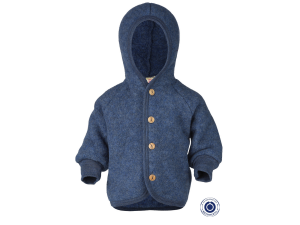 BIO Merino Fleece Children`s Jacket, with Hood, wooden buttons - BLUE -  size 50/56 to 86/92