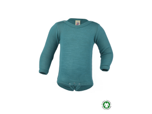 BIO Merino-Silk Baby Body, long sleeved, TURQUOISE - 50/56 to 110/116